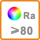 Color Rendering Index above 80